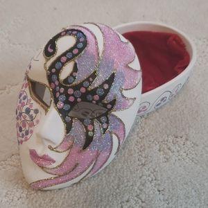 Venetian swan mask ceramic jewelry box